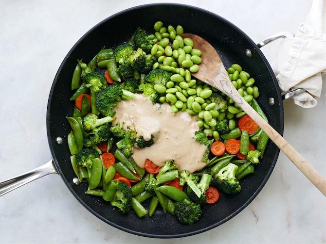 Stir fry pan with veggies and sauce