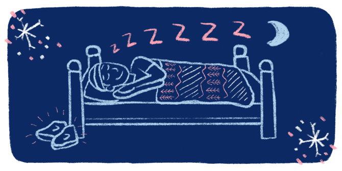 An chalk art style illustration of a runner smiling while asleep in a bed with running shoes laying on the floor ready to go for the morning run.