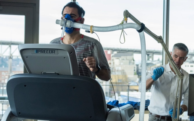 Andy running on a treadmill measuring his VO2 max