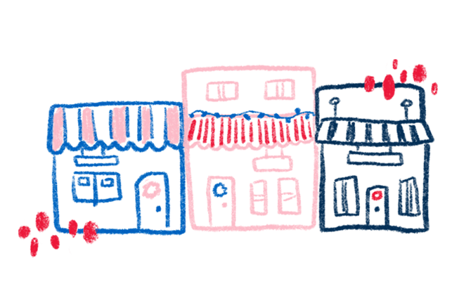 A whimsical chalk art illustration showing three side-by-side storefronts amongst large hand-drawn snowflakes.