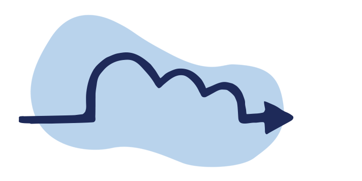 Illustrated arrow following a path in the shape of a fluffy cloud