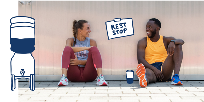 Two runners sitting after a run