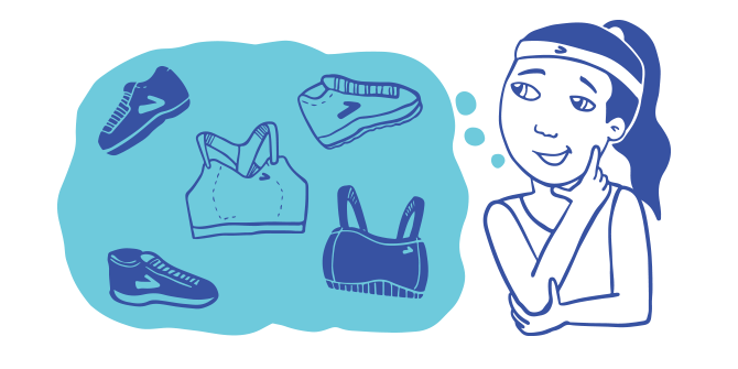 Illustration of a woman thinking about different run bra and shoe options