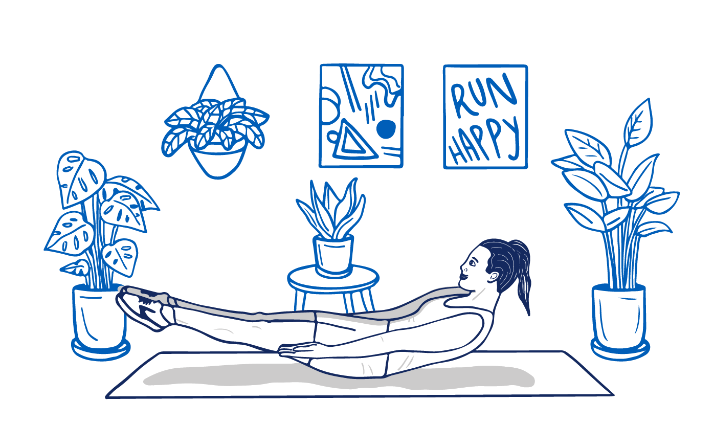 """An illustration of a woman doing V-ups on a yoga mat in her living room surrounded by houseplants, an abstract art painting, and a poster that says """"Run Happy."""