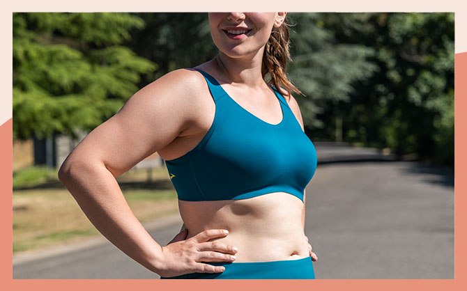 The Dare Scoopback run bra, seen from the front.