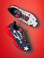 shoes with red stripes and blue stars
