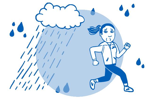 Illustration of runner trying to avoid rain drops