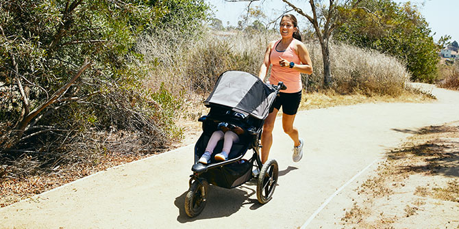 Anel running with a stroller