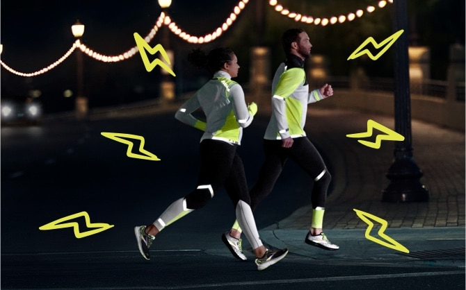 Two runners with illustrated lightning bolts