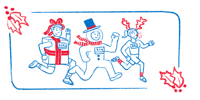 An illustration of three runners in costumes — one dressed as a present, another as a snowman, and another wearing reindeer antlers and a bright red Rudolph nose.