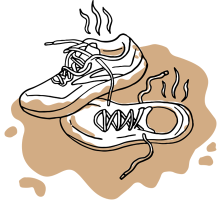 Illustration of a pair of dirty Brooks shoes sitting in a puddle of brown mud.