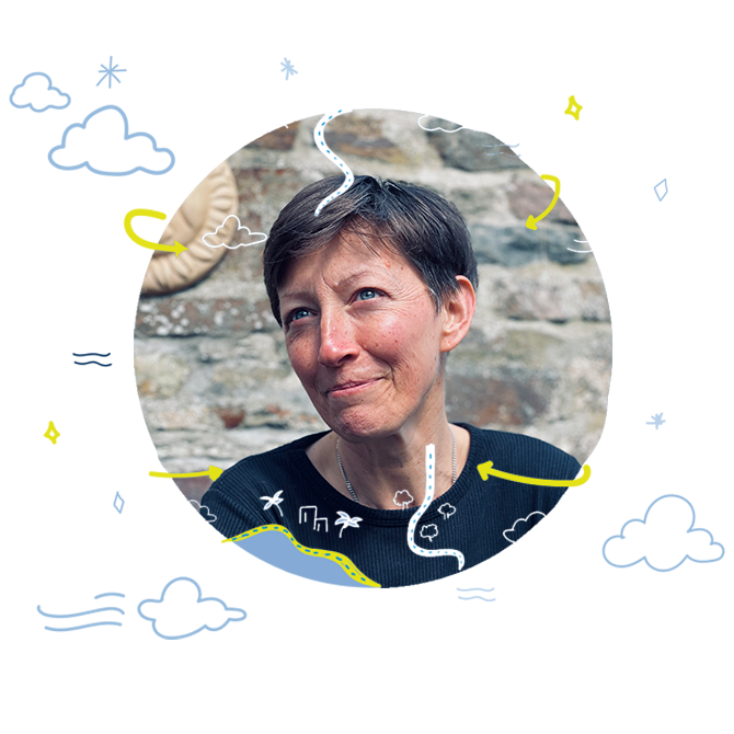 Natasha profile with illustration of clouds and stars