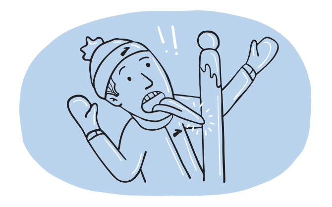 llustration of a man wearing mittens and a beanie hat who has gotten his tongue stuck to a pole in cold weather.