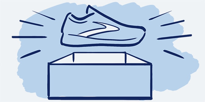 Illustration of a Brooks shoe and shoebox.
