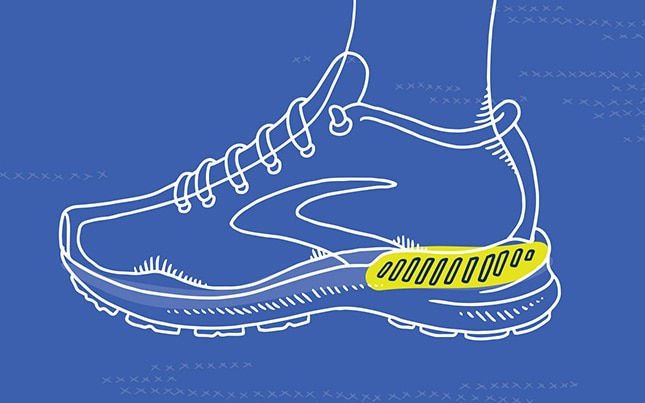 Illustration of a Brooks shoe with GuideRails® technology highlighted in yellow.