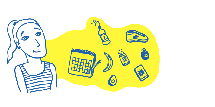 llustration of a woman with various running objects, including a calendar, shoe, banana, avocado, trail mix, bottle of water, medal, and mobile device depicting a running app