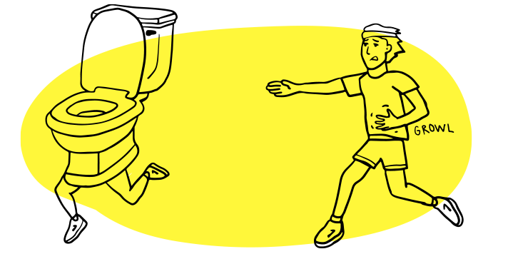 Illustrated runner chasing a toilet with legs