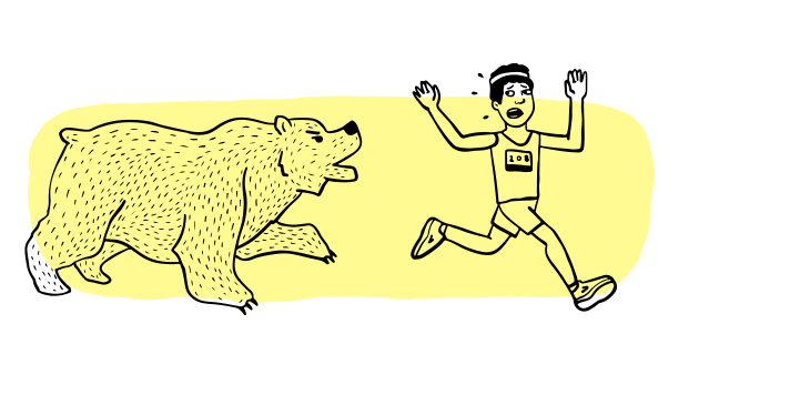 An illustrated runner running from a bear