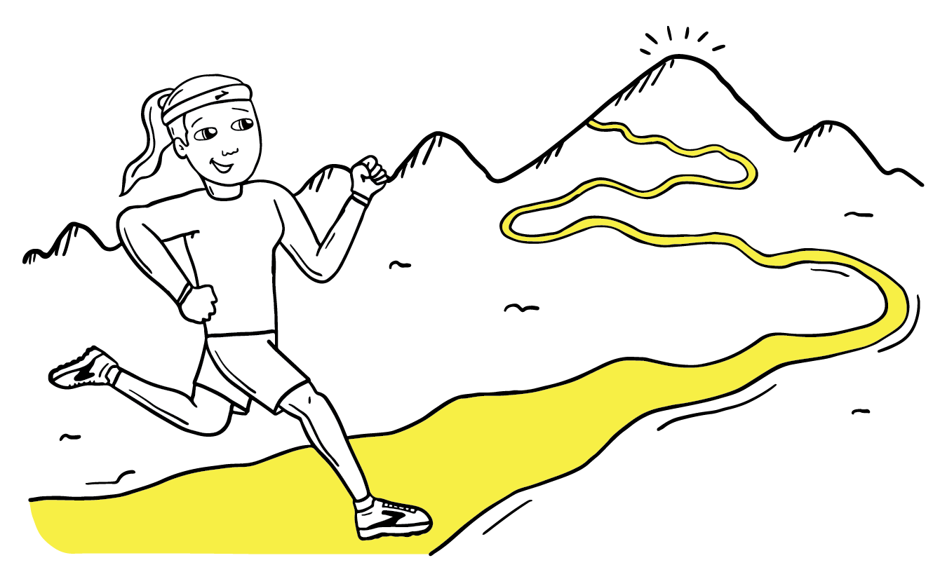 Illustration of girl running up a mountain trail
