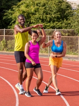 Runners laughing with each other