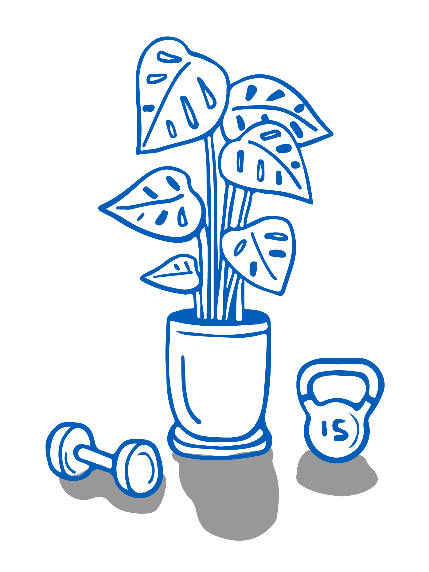A houseplant sits on the floor between a single dumbbell and a kettlebell.