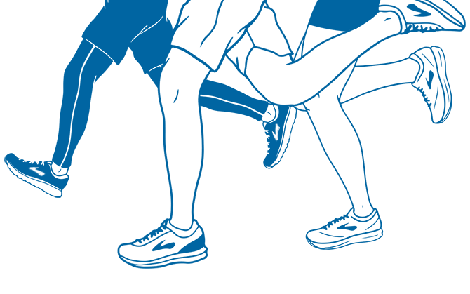 An illustration of three sets of runners' legs running a race in Brooks shoes.