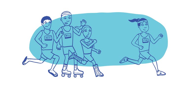 llustration of four people running a race, with one well-prepared runner pulling away and widening her lead