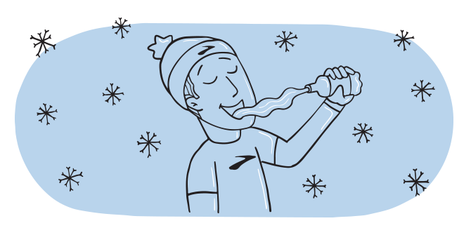 Illustration of a man looking satisfied as he squirts a bottle of water into his mouth.