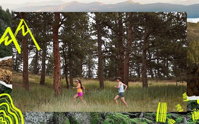 Seitenansicht eines Läufers und einer Läuferin im Gelände