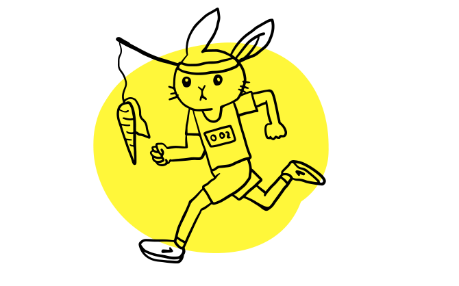 Illustrated rabbit running with a carrot on a stick attached to his headband and dangling in front of him