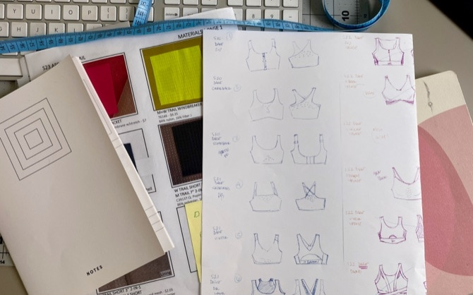 Drawings and notes of the run bras for the season