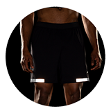 """Men's Carbonite 7"""" 2-in-1 Short (black with reflective strips)"""