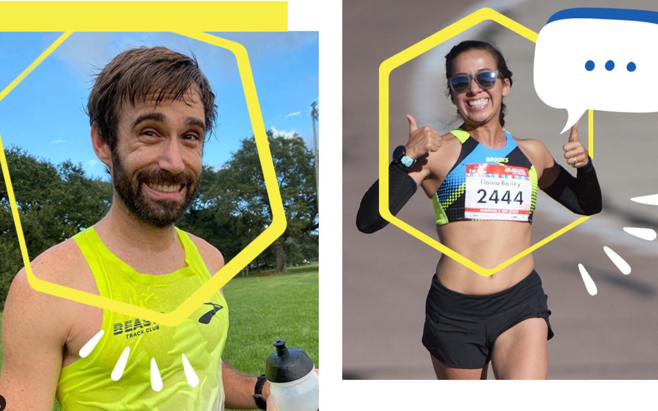 Three separate profile pictures of Brooks Gurus Josh Browning, Alan Walker, and Elaina Bailey