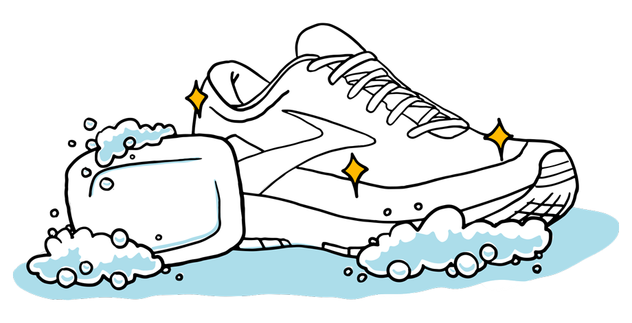 Illustration of a bar of soap and a squeaky clean Brooks shoe covered in soap suds.