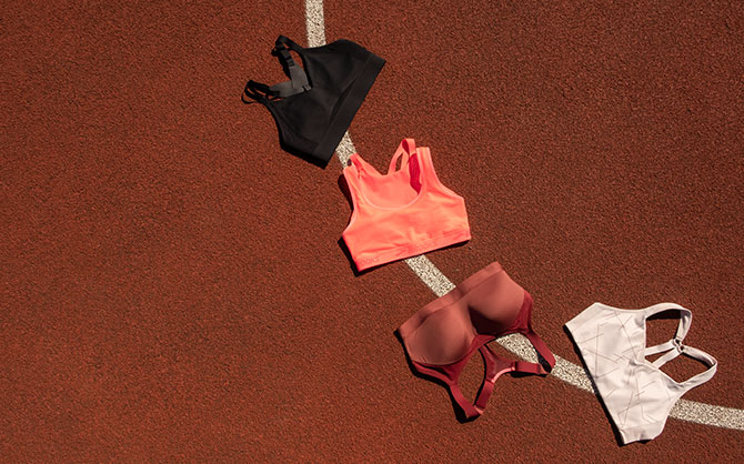 Drive run bras laid out on a track