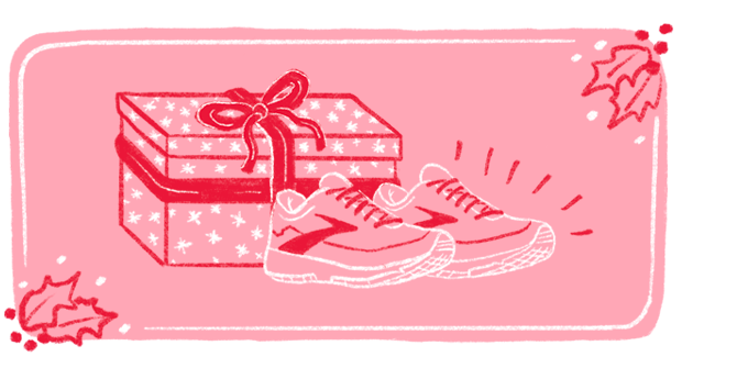 Illustration of a large pink present with a red bow with a pair of Brooks Running shoes in the foreground.