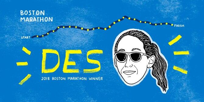 2018 Boston Marathon winner cartoon