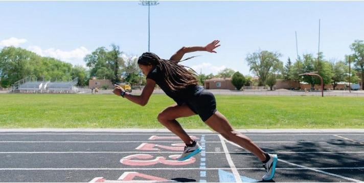 Women sprinting off the start line