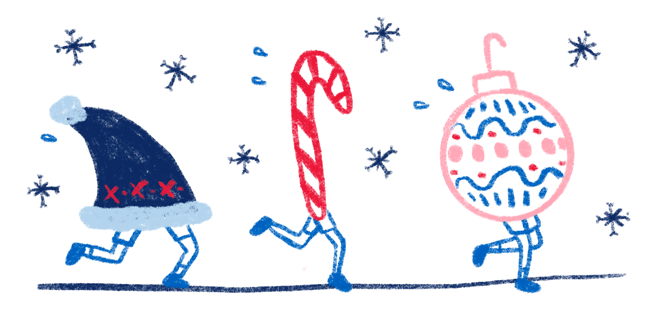 An illustration of a Santa's hat, candy cane, and holiday ornament, all with legs, running a race in the snow.