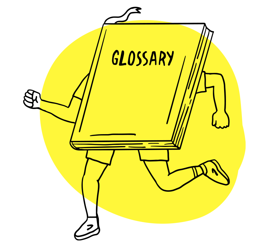"""Illustration of a book titled """"Glossary"""" with legs, running"""