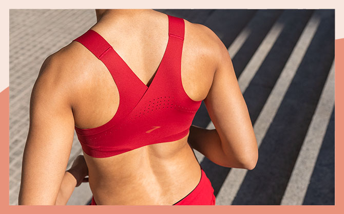 The Dare Crossback run bra, as seen from the back to show the smooth, crossback style