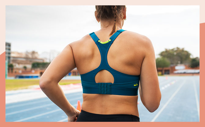 The Dare Racerback run bra, seen from the back, showing the adjustable back closure.