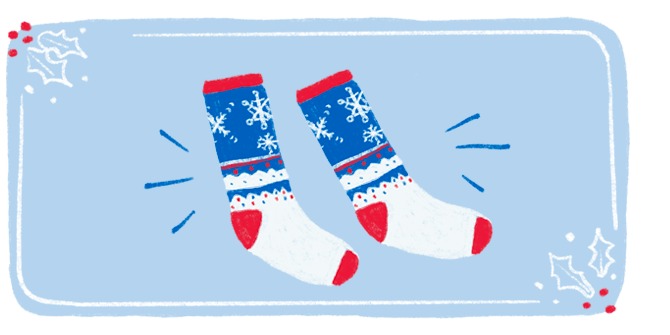 An illustration of a festive pair of holiday socks featuring snowflakes, holiday lights and red, white, and blue coloring.