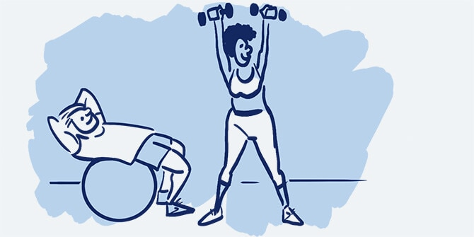 Illustration of a man doing ab work on a large exercise ball next to a woman lifting dumbbell weights.