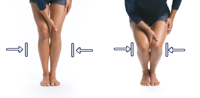 Image showing how to test hand pressure when squatting with your feet together