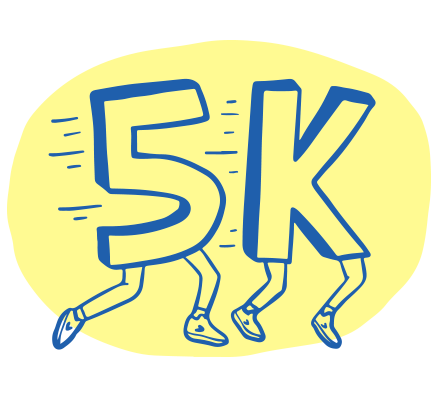 Comical illustration of a number 5 and letter K with legs running together