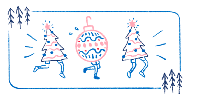 An illustration of two festive Christmas trees and an ornament, all with legs, running through the forest.