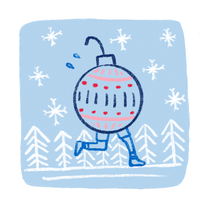 A funny chalk art style illustration of a Christmas ornament with legs runs along a forest trail while it's snowing.