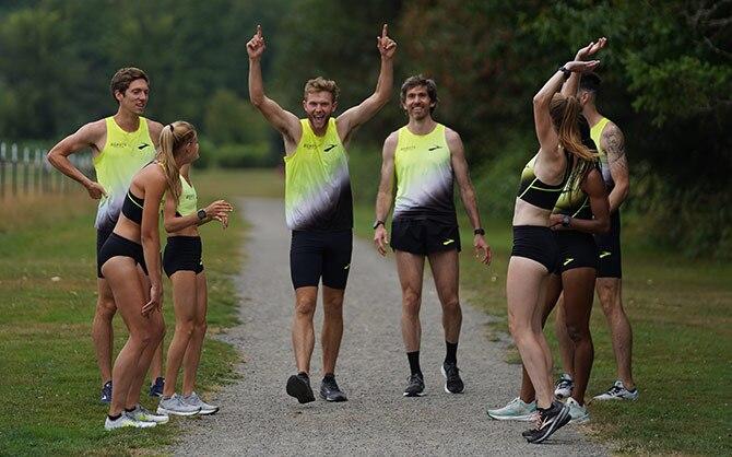 Brooks Beast celebrate after a run.