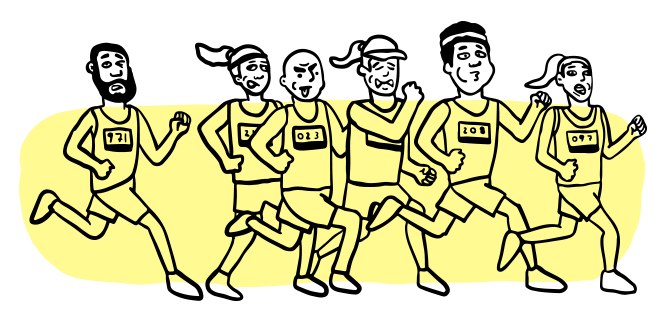 A group of illustrated runners